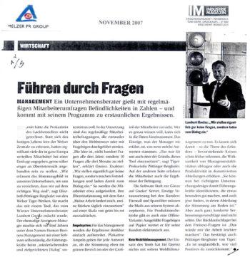 GNEISZ-ADVICE_PR-Clipping_200711-Industrie-Magazin_Fuehren-durch-Fragen